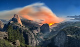 Yosemite National Park and Forest Fire California USA