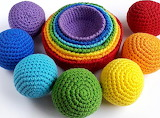 Crocheted Rainbow Balls and Bowls