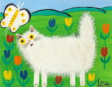 white cat, Maud Lewis