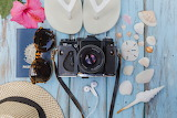 Flower, passport, hat, glasses, camera, shell, hibiscus, slates