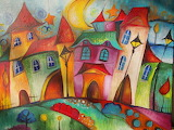 Magic town painted by Sylwia Gromacka
