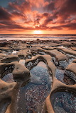 Tide Pools in La Jolla, California at sunset