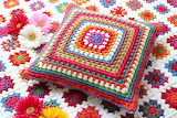 ^ Granny Square Afghan and Pillow