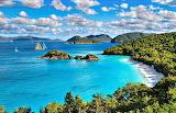 Beach Mountains & Sailboat St John Virgin Islands National Park