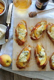 ^ Crostini with Peaches, Blue Cheese and Honey