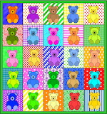 Colourful Teddies Clipart Collage