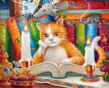 Cat, study, books, clock, candle, cookies, fish, painting