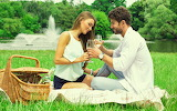 Girl, nature, river, wine, basket, glasses, guy, lovers, weed, t