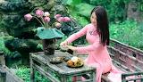 Girl, flowers, smile, tea, dress, sitting, table
