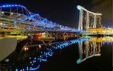 Helix Bridge & Marina Bay Sands Hotel, Singapore