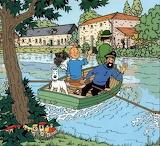 Tintin fait un p'tit tour en barque