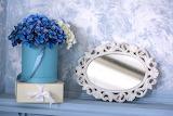 Flowers, box, gift, bouquet, mirror, blue, hydrangeas