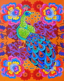 Peacock with flowers-Jane Tattersfield