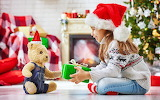 Teddy bear, Christmas, Gifts, girl, hat, toy
