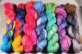 Twisted hanks of colorful yarns