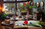Flowers, style, books, lamp, coffee, bouquet, window, glasses, t
