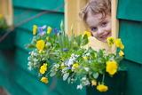 Flowers, girl, child, kid, window, wall