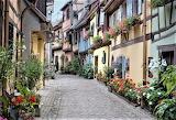 Cobblestone path french village