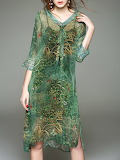 Charsu 'V Neck H-Line 3/4 Sleeve Vintage 2 Piece Midi Dress'
