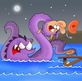 Sea Monster And Bunny-illustration