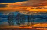 Lake-reflection-trees-sunset-clouds-landscape-Greece