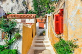 ^ Colorful buildings in Plaka Athens