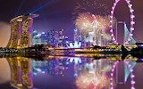 Singapore-architecture-fireworks-lights-night-reflection-marina-