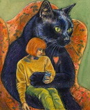 Giant cat and woman