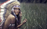 Brunette Headdress Native Americans Strategic Covering women