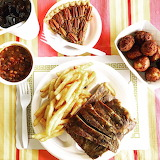 ^ Ribs, fries, baked beans, hush puppies, pecan pie, soda