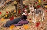 Girl, nature, wolf