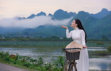 Girl, asian, nature, mountains, sea, river, bike, hat, beauty