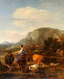 Italianate Landscape with Peasants Fording a Brook Nicolaes Piet