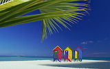 Small Colorful Beach Huts on Tropical Island