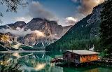 mountains cottage lake