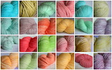 Colorful skeins of yarn