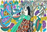 woman and peacock, Baya