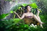 Girl, umbrella, rain, mood, situation, Asian, barrel, leaves, fl
