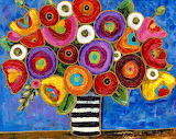 Flowers and Stripes Vase by Maria Reyes-Jones.