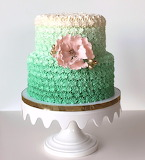 Green frilly wedding cake