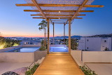 Luxury Mykonos Villa with mountain and sea view at sunset