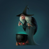 Witch over cauldron