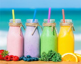 Colorful Drinks by the Ocean