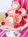 Raspberry Swirl Meringue Cookies