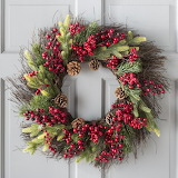 Christmas Red Berries Cone Wreath