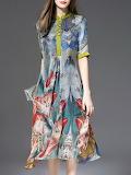 ELENYUN Multicolor Stand Collar Half Sleeve Shirt Dress