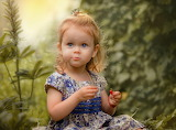 Summer, nature, berries, dress, girl, baby, child, blonde