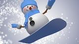 snowman on skateboard