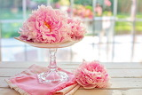 flowers on a cake stand