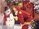 Santa Snowman Note